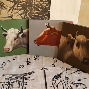 Other - 4-pc Bovine Wooden Hand Painted Wall Plaques 7x7